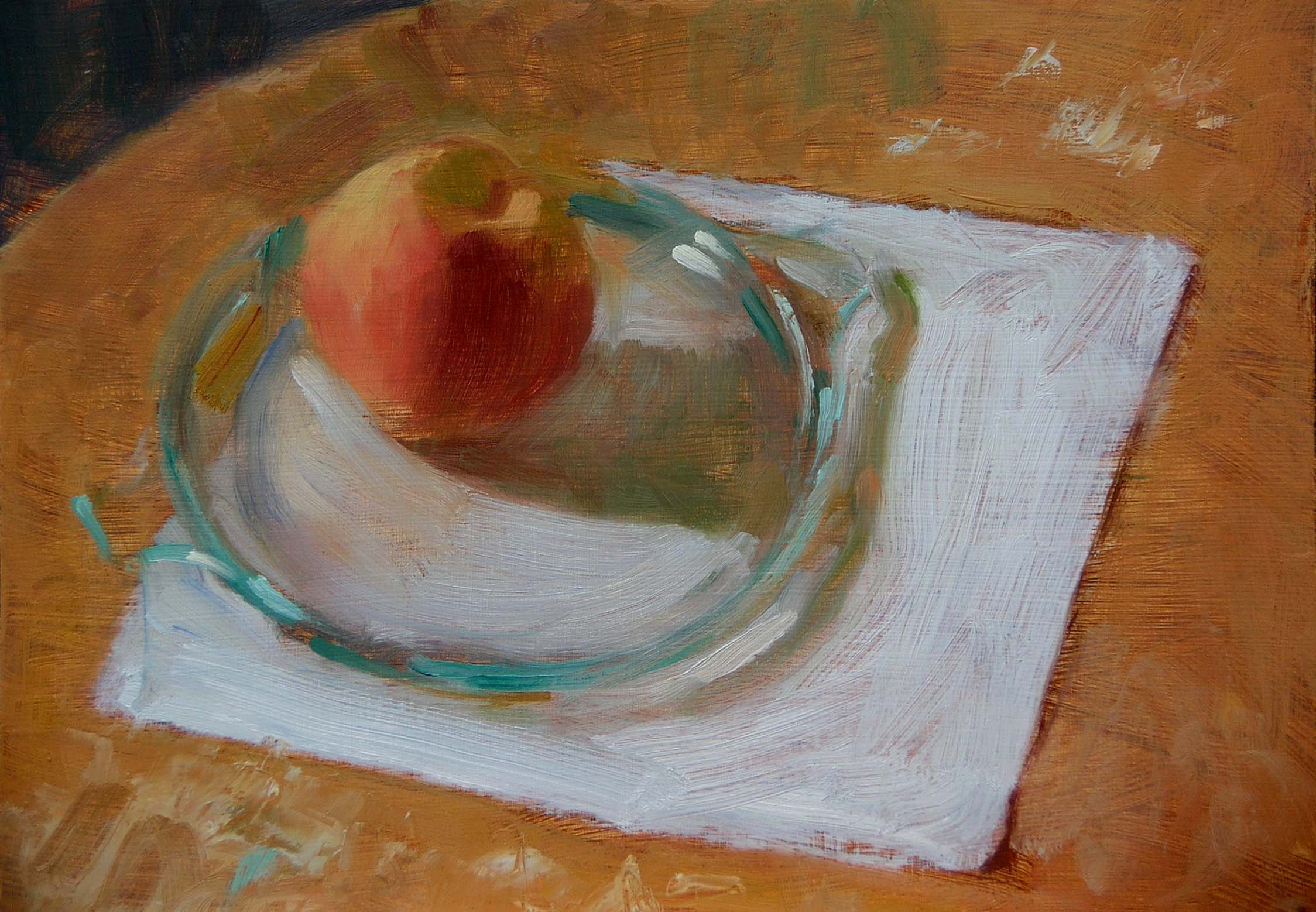 Peach on Green Glass-oil/panel-9 x 12