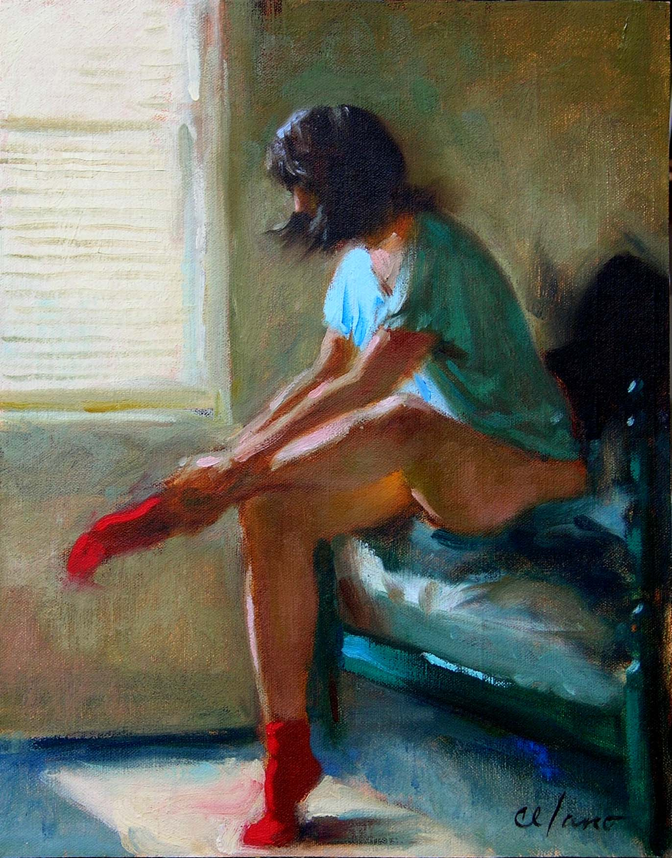 Red Socks-oil/mounted linen-14 x 11