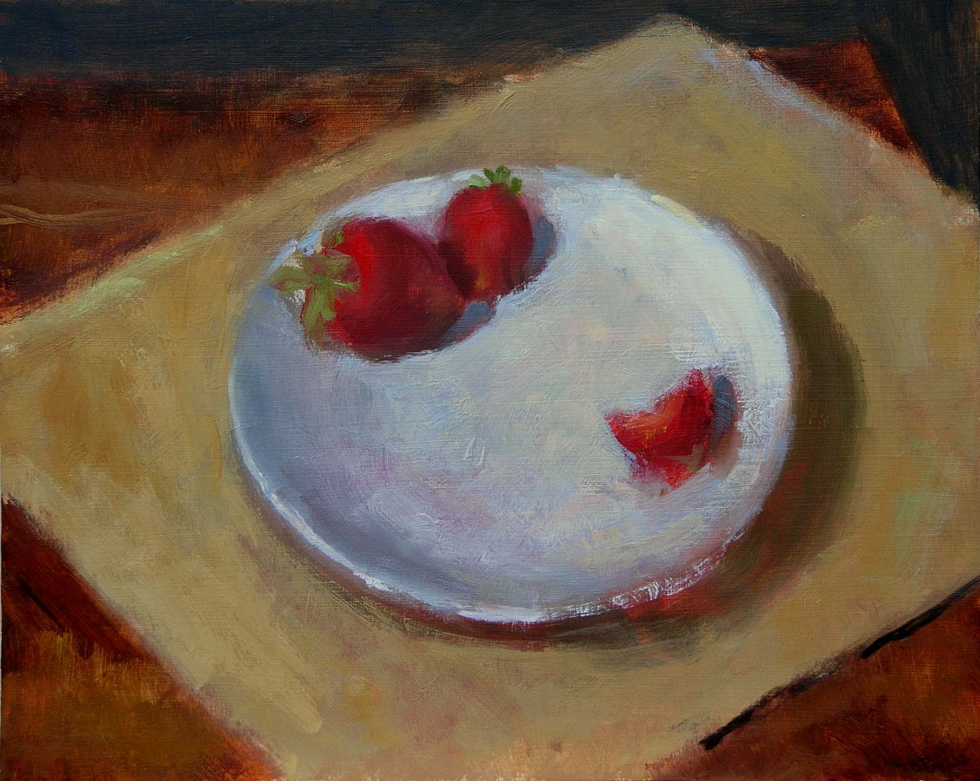 Two and a half Strawberries-oil/panel-10 x 12