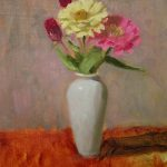 James Celano Zinnias Oil Painting